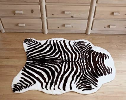 Amazon Com Plush Brown And White Faux Zebra Skin Rug From France 3