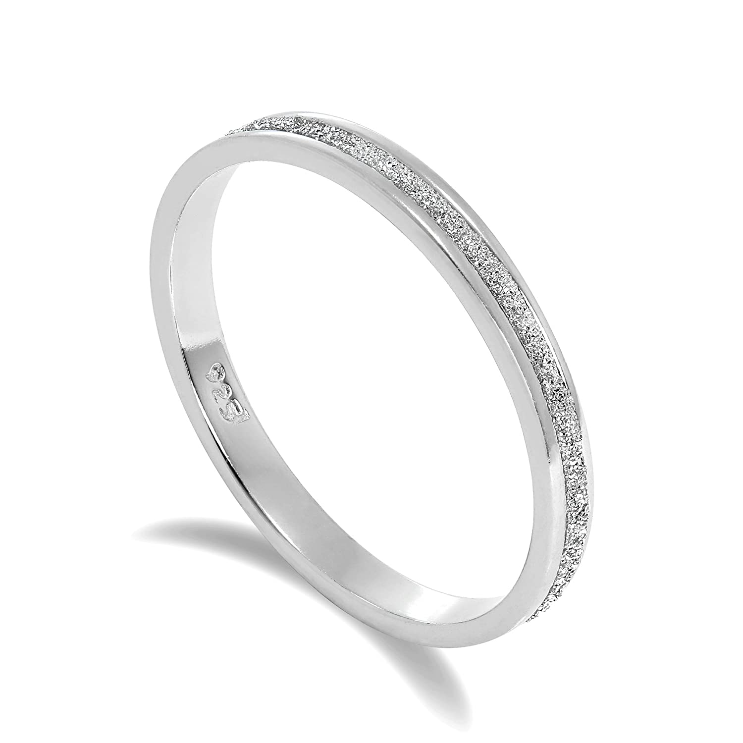 Frosted Sterling Silver Full Eternity Ring Size I - W jewellerybox HAR-0635