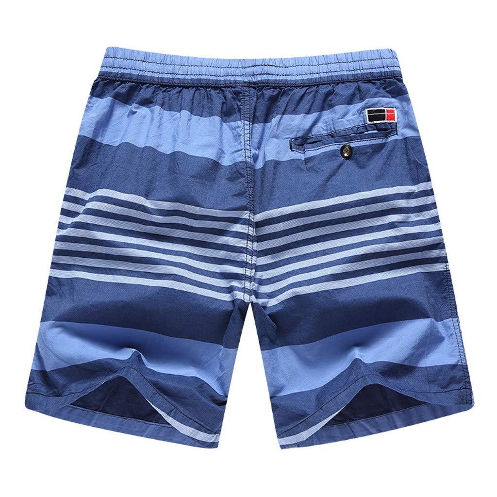 Mens Stripe Printed Summer Beach Drawstring Pants Shorts Trunks