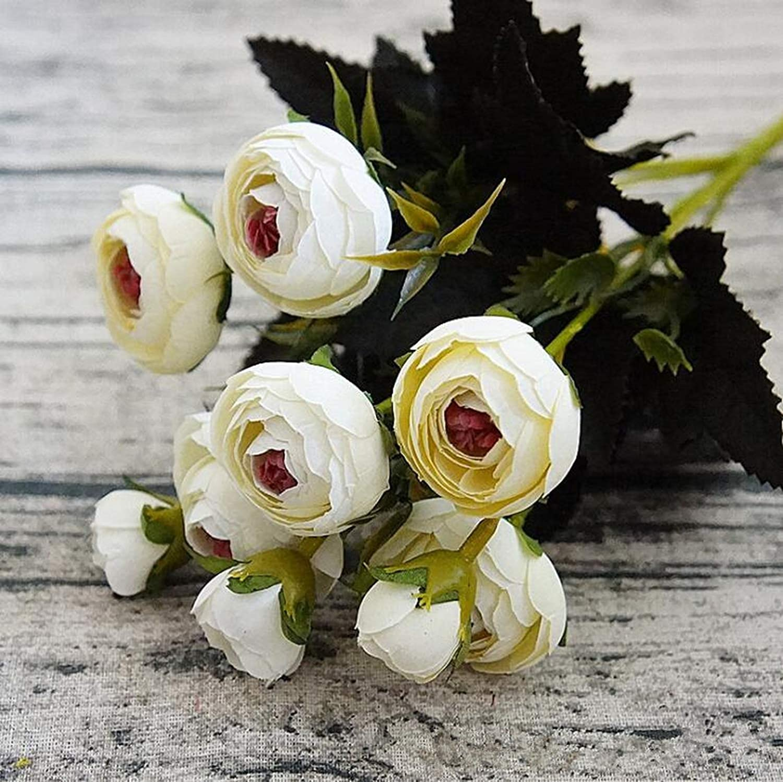 eu-knc ミニシルク造花 牡丹の花 フルール 造花 カメリア ホームクリスマスデコレーション用 フェイクカラー 1 1-203988AAA B07QLQXL5V E 1