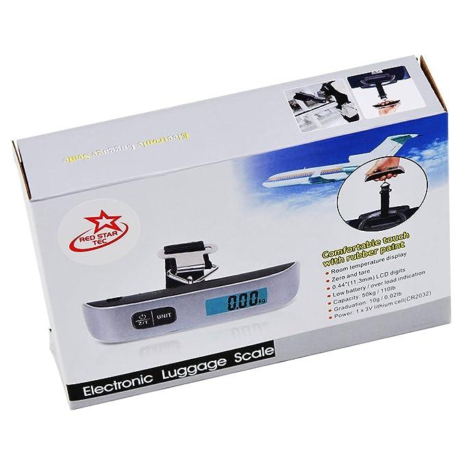 Res Star Tec Pantalla LCD Portátil Básculas de Equipaje para Maletas y Bolsas Báscula de Pesaje de Equipaje 110 Libras/ 50 Kilogramos para Viajes: ...