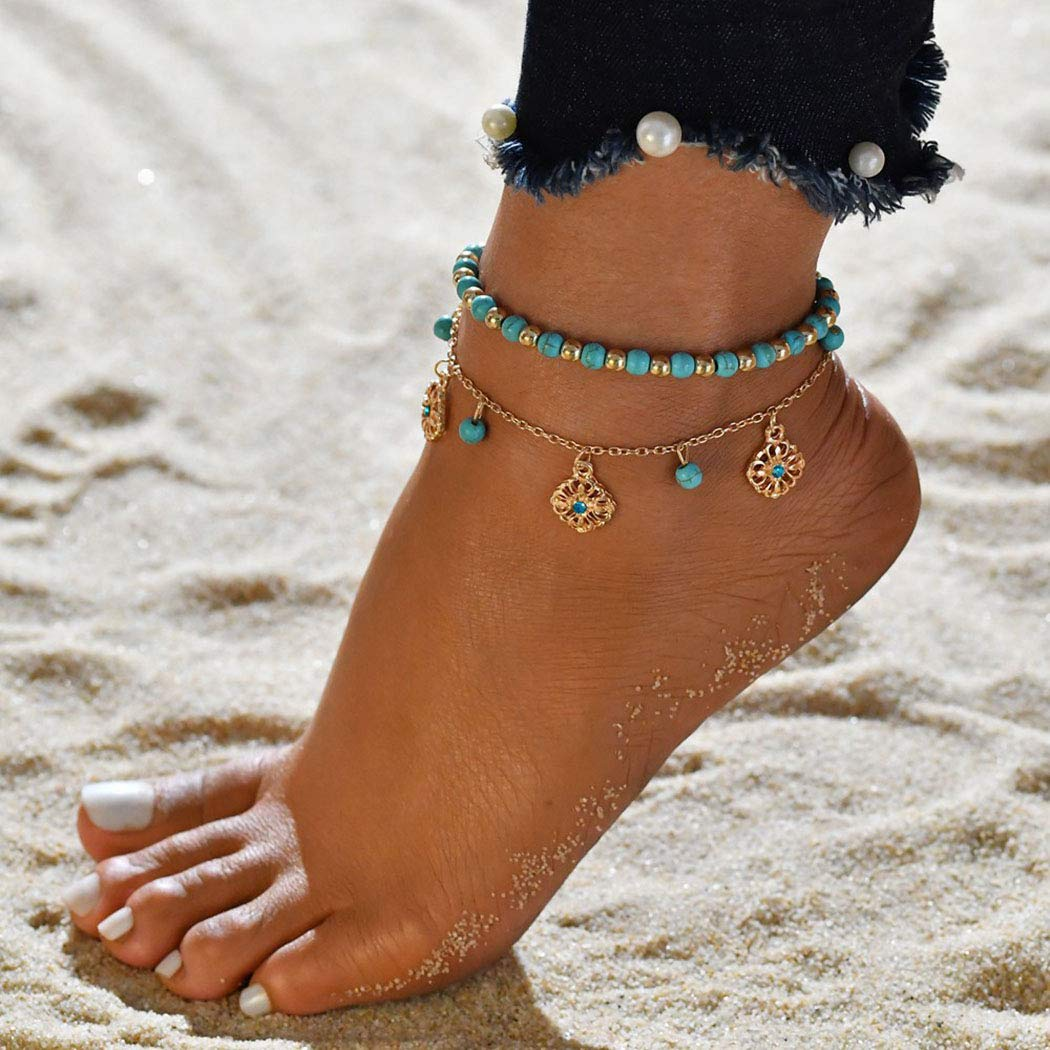 Shegirl Boho Layered Ankle Bracelet Floral Tassel Ankle Bracelet Turquoise Beaded Anklet Chain Gold Foot Jewelry For Women And Girls
