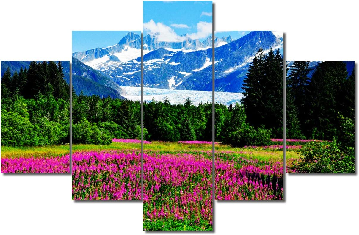 Canvas Wall Art Nature Glacier US Alaska Mountains Beautiful Flowers and Forest Landscape 5 Panels Panoramic Scenery Artwork Picture Frames Ready to Hang for Living Room Bedroom Home Office Wall Decor