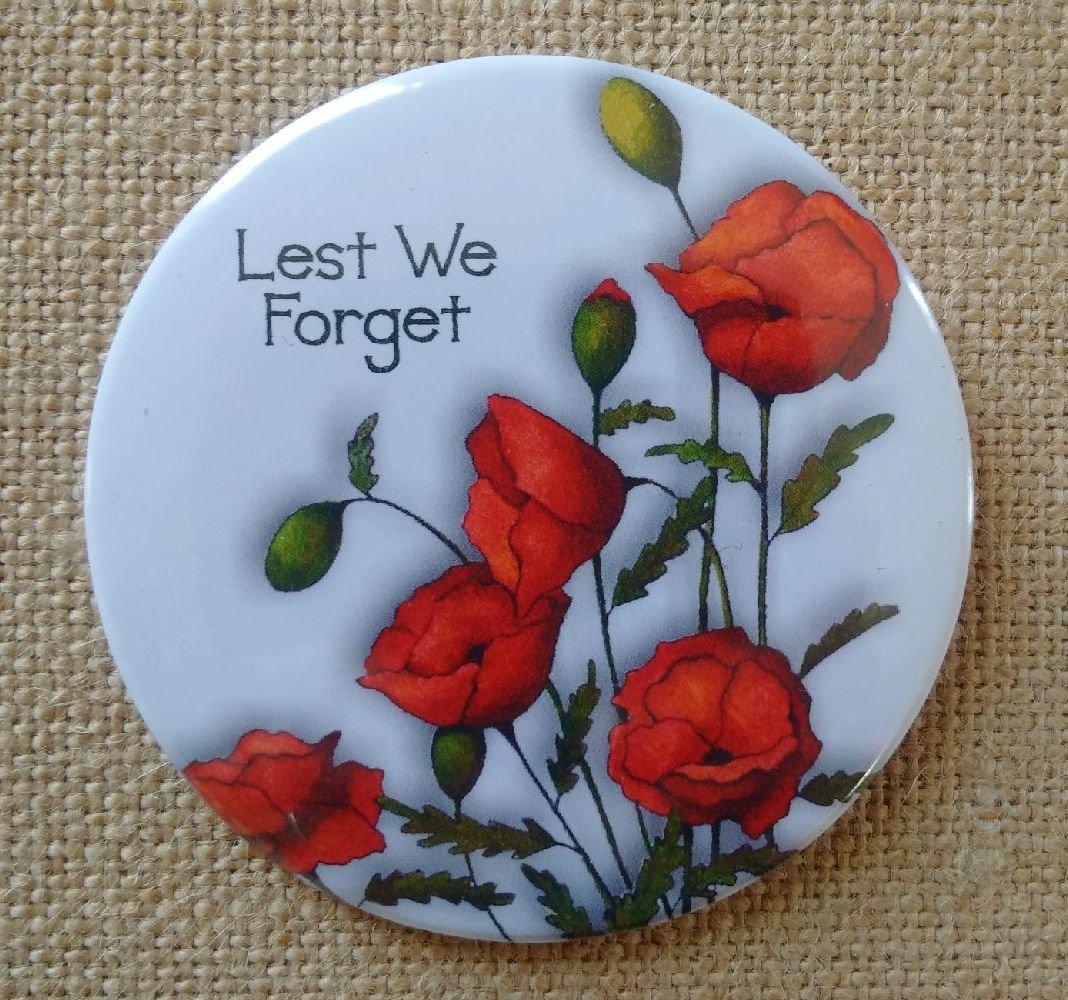 Fridge Magnet: 3.5', Lest We Forget, Poppies, Remembrance Day, Veterans