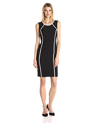 Kasper Women's Jewel Neck Crepe Contrast Detailed Dress