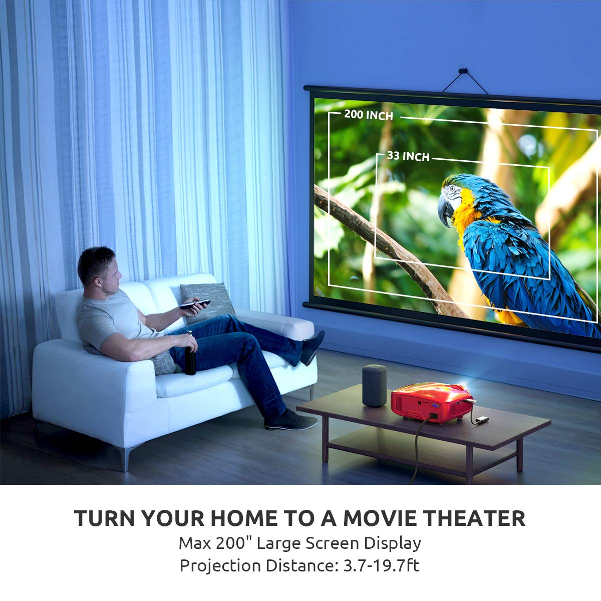Projector, Crenova Upgraded Home Video Projector, Portable Mini Movie Projector with 3200 Lux, 200'' Display, Work with PC, Fire Stick, HDMI, PS4, TV Box, VGA, TF, AV, USB for Home Theater/Outdoor/Game by crenova (Image #4)