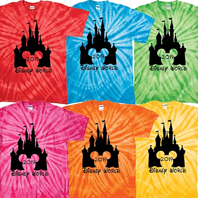 3964f129 Disney World Matching t Shirt Family Vacation 2019 tie dye Clothing Castle  (Frontierland Orange,