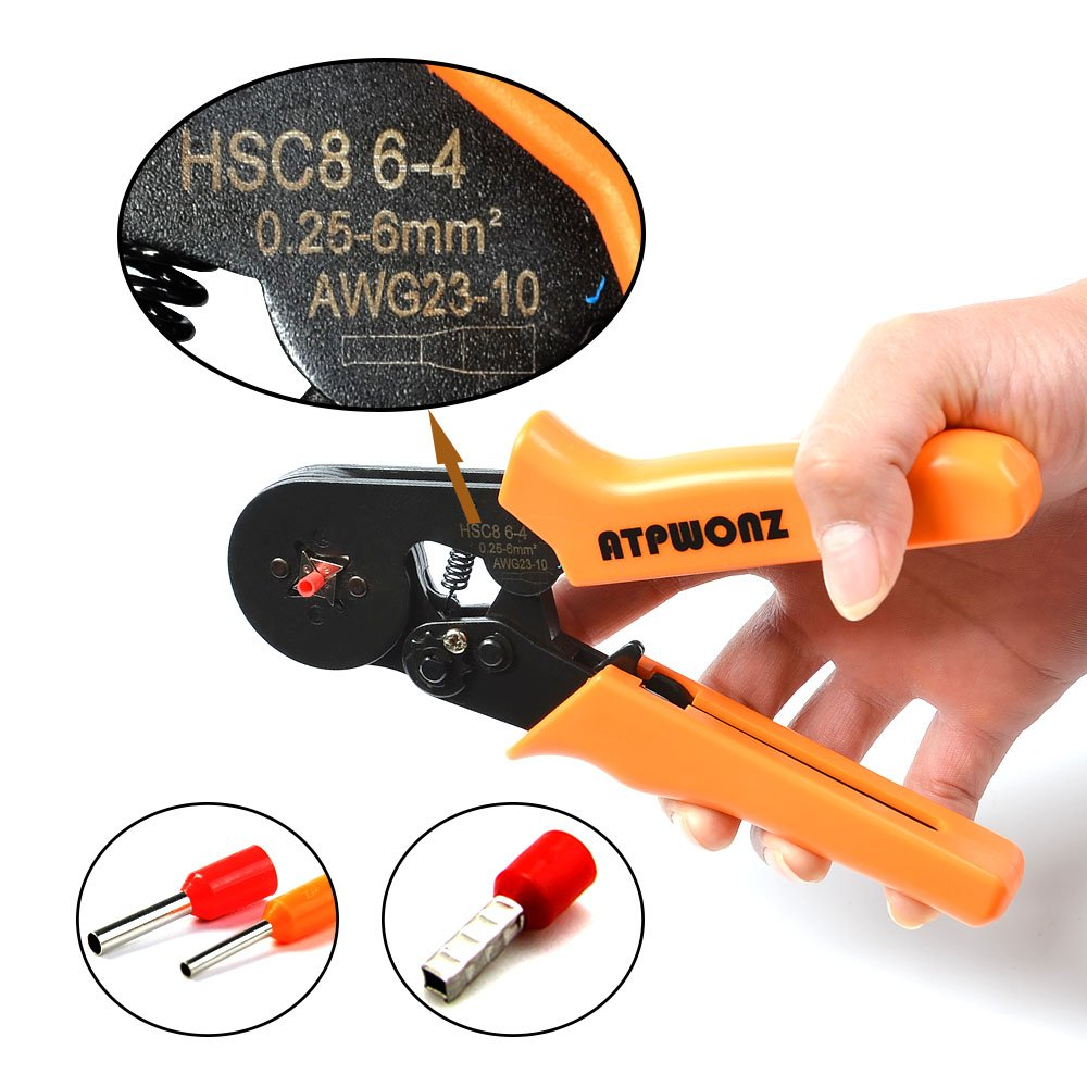 0.25-6.0mm/² Crimp Tool mit 800 Ratsche Kabelschuhe f/ür isolierte unisolierte Aderendh/ülsen Ratsche Kabelschuhe ATPWONZ Aderendh/ülsen Crimpzange Crimpwerkzeuge Set