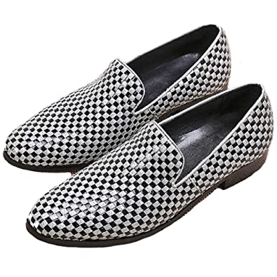 US Size 5-12 New Fashion Comfort Black & White Leather Mens Slip On Suit Dress Casual Loafers Shoes