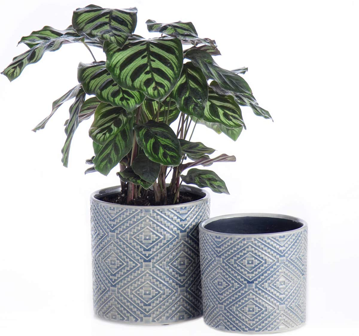 "KYY Ceramic Planters Garden Flower Pots with Drainage Hole 5.7"" and 4.5"" Set of 2 Indoor Outdoor Modern Plant Containers(Blue Grey)"