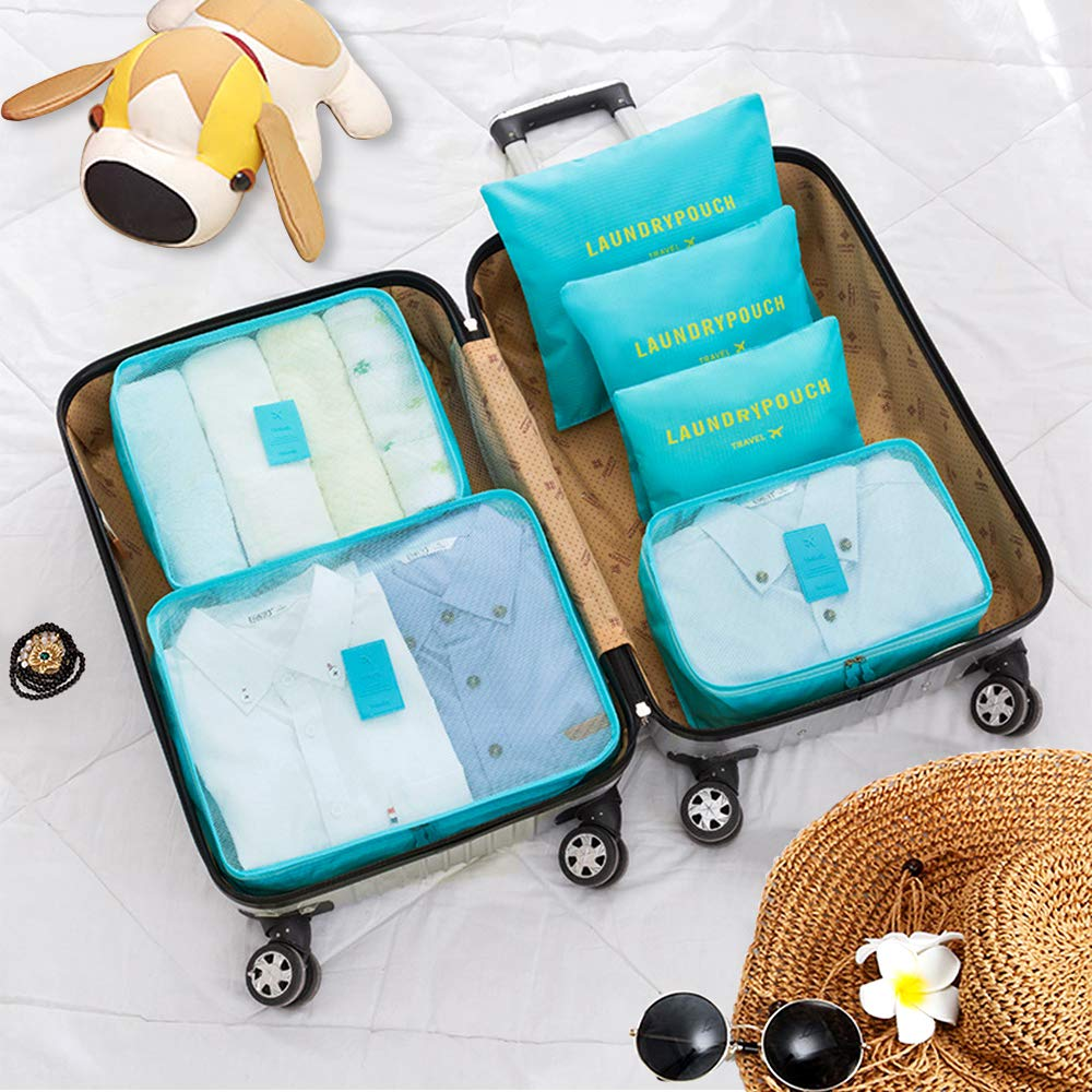 aKing Packing Cubes Set of 6 Travel Organizers with Laundry Bag for Travel Compression(Blue)