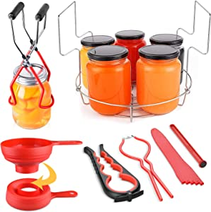 Home Canning Kit OCOOKO 7 Pcs Canning Supplies Included Canning Funnel,Jar Lifter,Jar Wrench,Lid Lifter,Canning Rack,Can opener,Measurer for Canning Jars Mason Jars Canning Pot