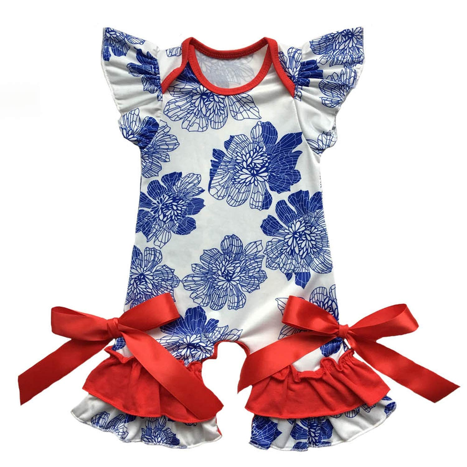 Infant Clothes Newborn Clothing in 4Th of July Baby Gown Romper Flutter Sleeve Capris Leg Baby Romper Jumpsuit