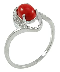 Banithani 925 Sterling Silver Coral Stone Women Finger Ring Indian Women Band Jewelry