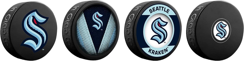 Amazon Com Seattle Kraken Nhl Inglasco Souvenir Hockey 4 Pack Puck Set Sports Collectibles