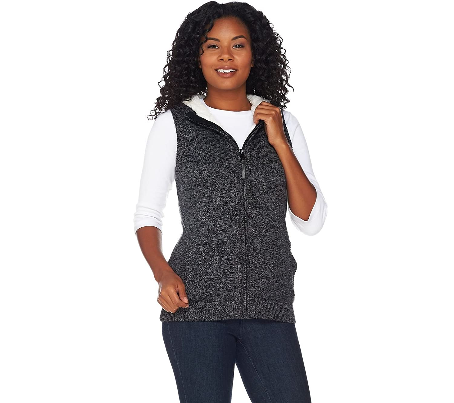 Denim & Co Zip Front Hooded Sweater Vest Sherpa Lining Fall Grey M ...