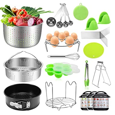 Antimi 21PCS Pressure Cooker Accessories Set For Instant Pot 5,6,8 QT, Steamer Basket, Springform Pan, Egg Bites Molds, Steamer Rack, Dish Clip, Whisk, Oven Mitts&Trivet Mats&Scrub Pad