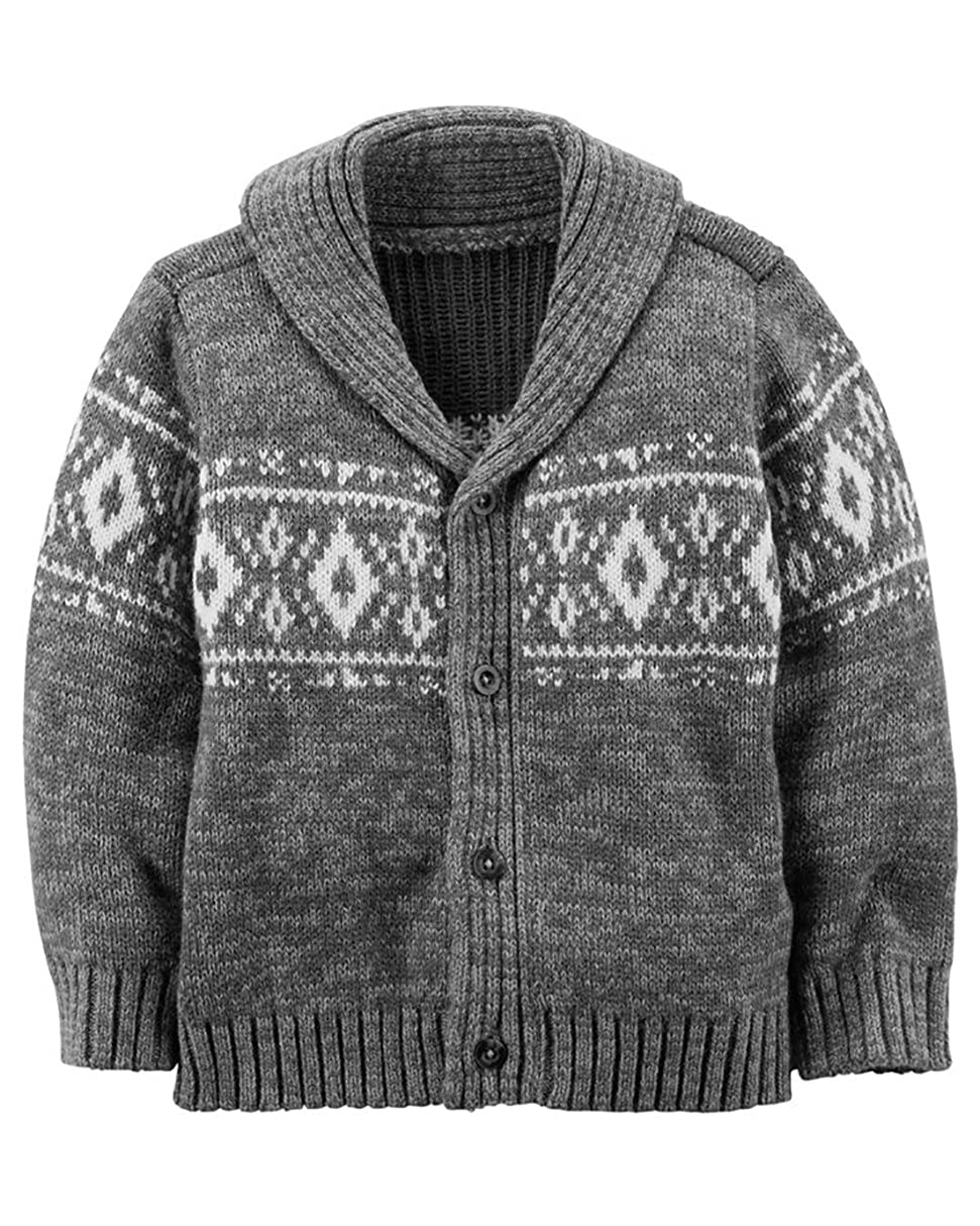 Carter's Boys Shawl Neck Cardigan Sweater; Grey and White (3M)