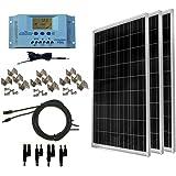 WindyNation 300 Watt (3pcs 100 Watt) 12V Solar Panel Off-Grid RV Boat Kit w/LCD P30L Solar Charge Controller + Solar Cable + MC4 Connectors + Mounting Brackets