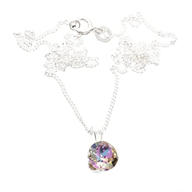 pewterhooter 925 Sterling Silver pendant and chain made with Vintage Rose crystal from SWAROVSKI® for Women X3nwePGT