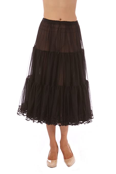 1950s Fashion History: Women's Clothing Malco Tea-Length Chiffon Crinoline Petticoat Underskirt Full Slip w/ Lace $49.99 AT vintagedancer.com