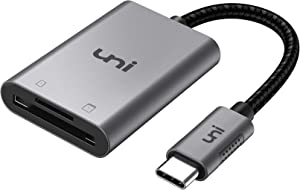 Lector de tarjetas USB C a SD/MicroSD, Adaptador SD uni USB Tipo C[Thunderbolt 3]Compatible con MacBook Pro, MacBook, MacBook Air / iPad Pro 2018, Samsung Galaxy S10/S9/S8, Surface Book 2 y más-Gris