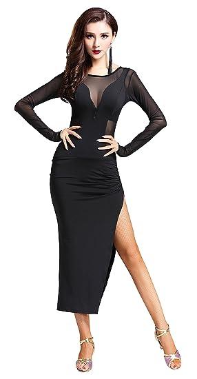 cd981aa1002b Z&X Women's Black Long Sleeve Split Leg Latin Tango Cha Cha Dance Dress  Costumes Black: Amazon.co.uk: Clothing