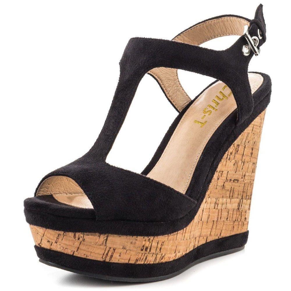 Chris-T Women's Wedges Sandals High Platform Open Toe Ankle Strap Party Shoes B07D4H3YSK 8 B(M) US|Black S