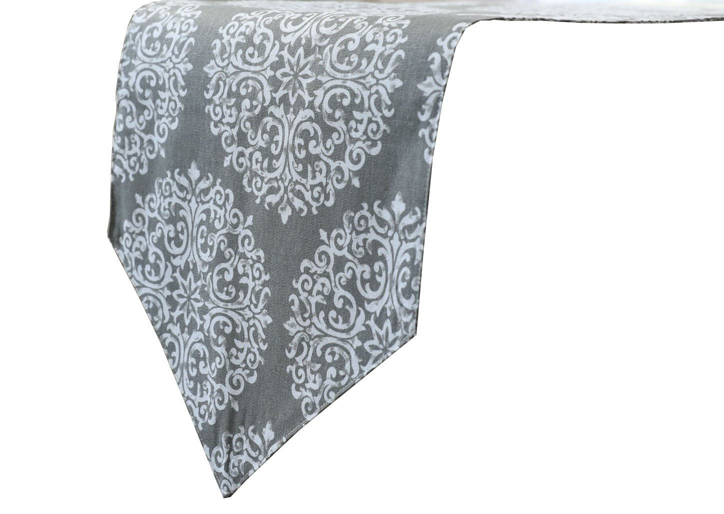 White Circle Flower Print Grey Table Runner Home Doily Linen Wedding Hotel Table Tv Cabinet Table Clothes Top Decoration