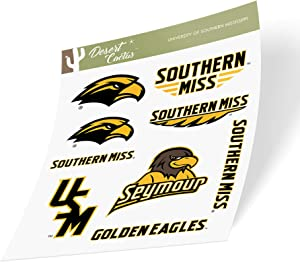 University of Southern Mississippi USM Golden Eagles NCAA Sticker Vinyl Decal Laptop Water Bottle Car Scrapbook (Type 2 Sheet)