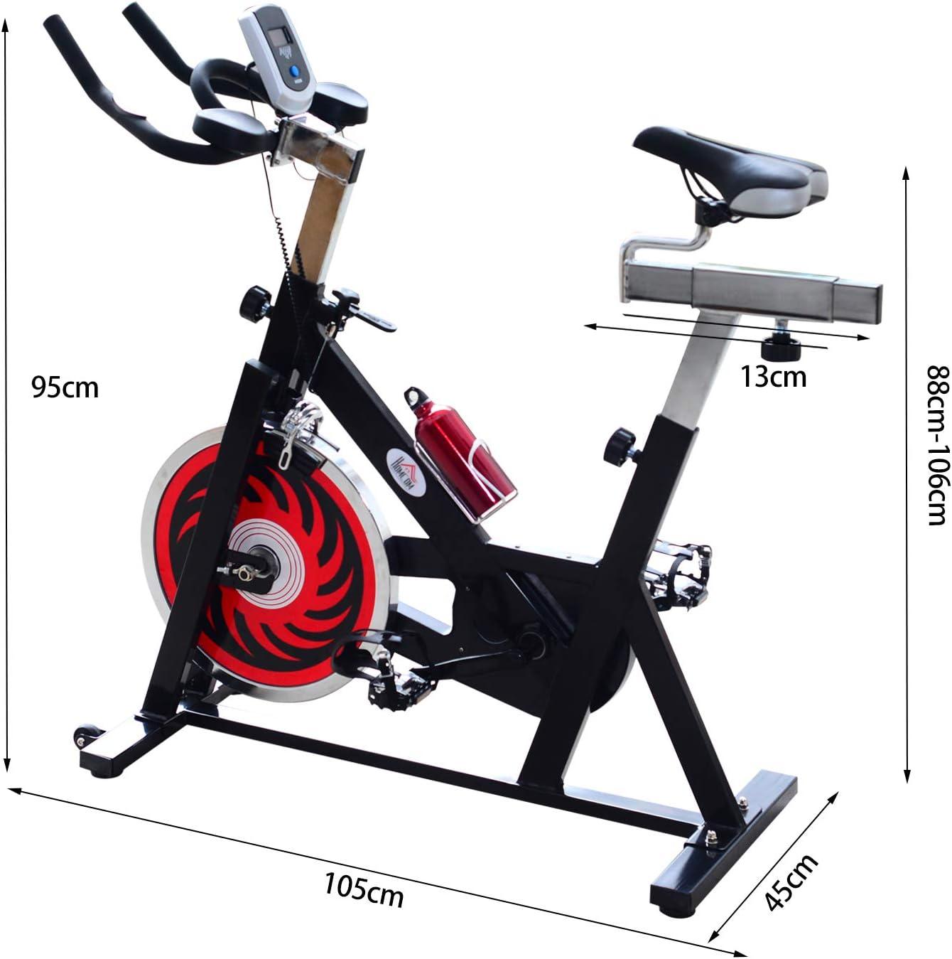 Homcom. Bicicleta estática profesional para spinning de 105 × 45 × 95 cm de color negro.: Amazon.es: Deportes y aire libre