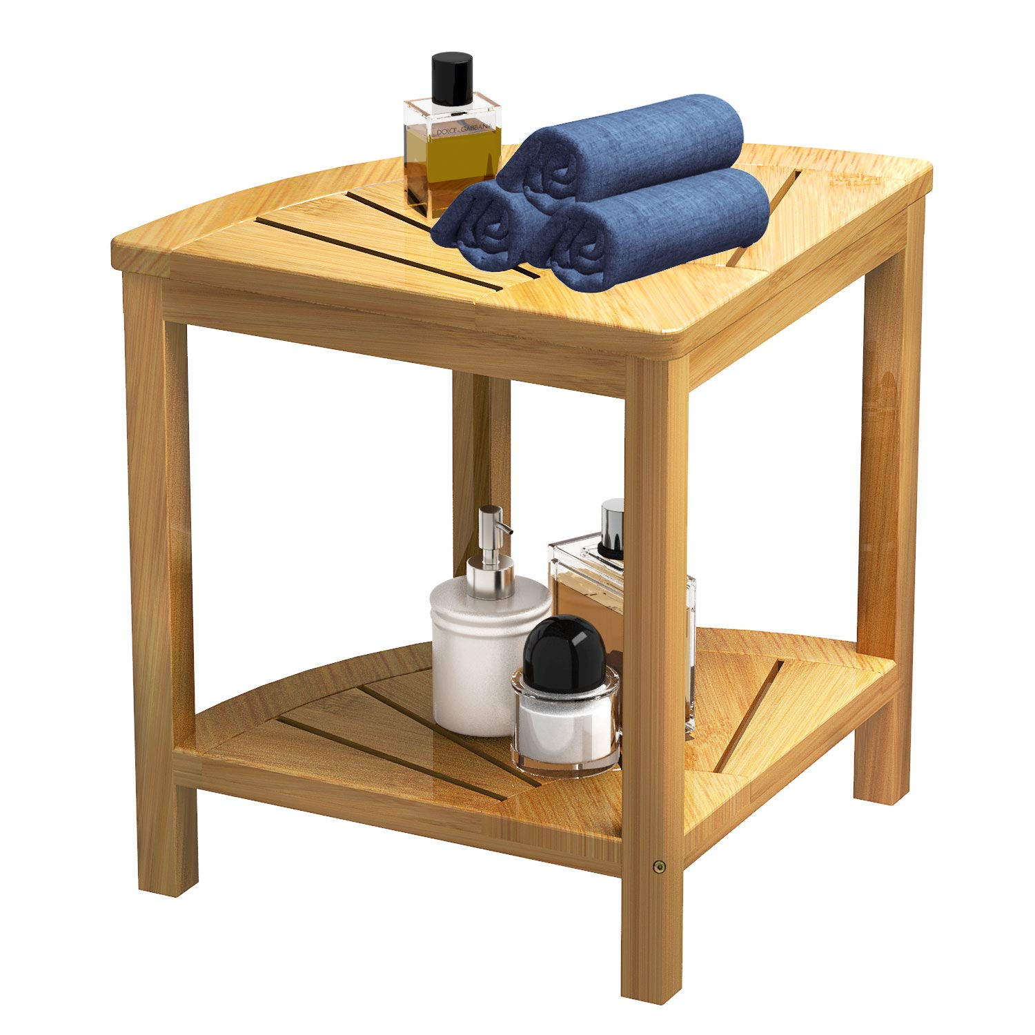 Shower Bench Stool Bamboo Mildew ProofCorner Storage with 2 Tier Large Organizer Space Perfect for Bathroom or Living Room Bamfan