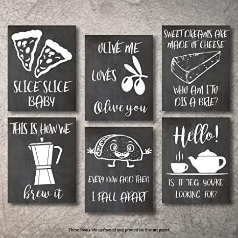 Amazon Com Wall Decor Kitchen Pictures Unframed Modern Farmhouse Eat Signs Decorations Shabby Chic Art Sign Prints For Home Or Office Kitchen Coffee Deco Wall Shelves Or Hanging Shelf Vintage Decore Bar Chalk