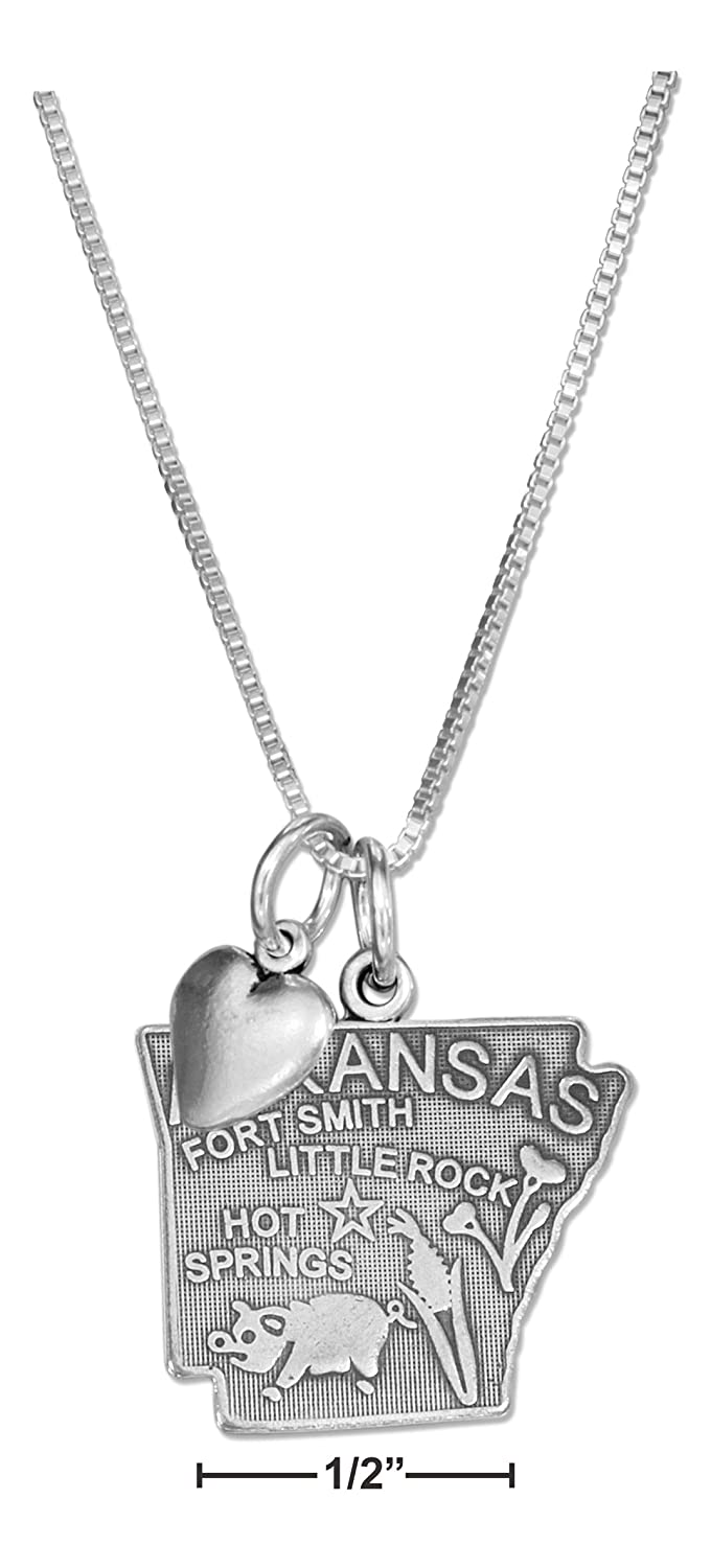 Sterling Silver 18 inch Arkansas State Pendant Necklace with Heart Charm