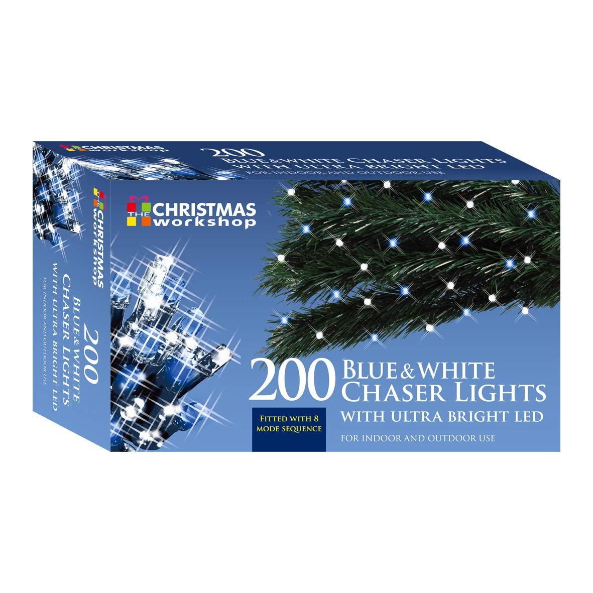 Indoor and Outdoor ~ Christmas Weddings /& Gardens ~ 8 Functions ~ 77470 Christmas Workshop 200 LED Bright White Chaser lights