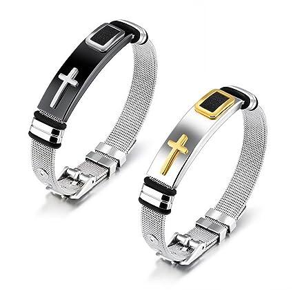 Amazon Com Reizteko Mens Cross Bracelet Religious Stainless Steel