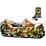 Inflatable Lounger - Portable Air Chair & Blow up Sofa with Headrest & Hold Air Longer Design Ideal For Lounging, Camping, Beach, Fishing, Parties, Pools, Traveling, Backyard, Park