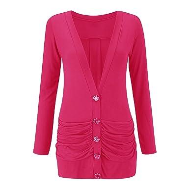 66749d0ea2 Womens Ladies Long Sleeve Button Up Boyfriend Pocket Cardigan Top Plus Size  8-26