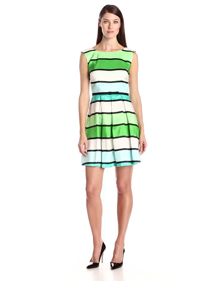 Julian Taylor Women's Sleeveless Stripe Fit and Flare Dress, Turquoise/Green, 10