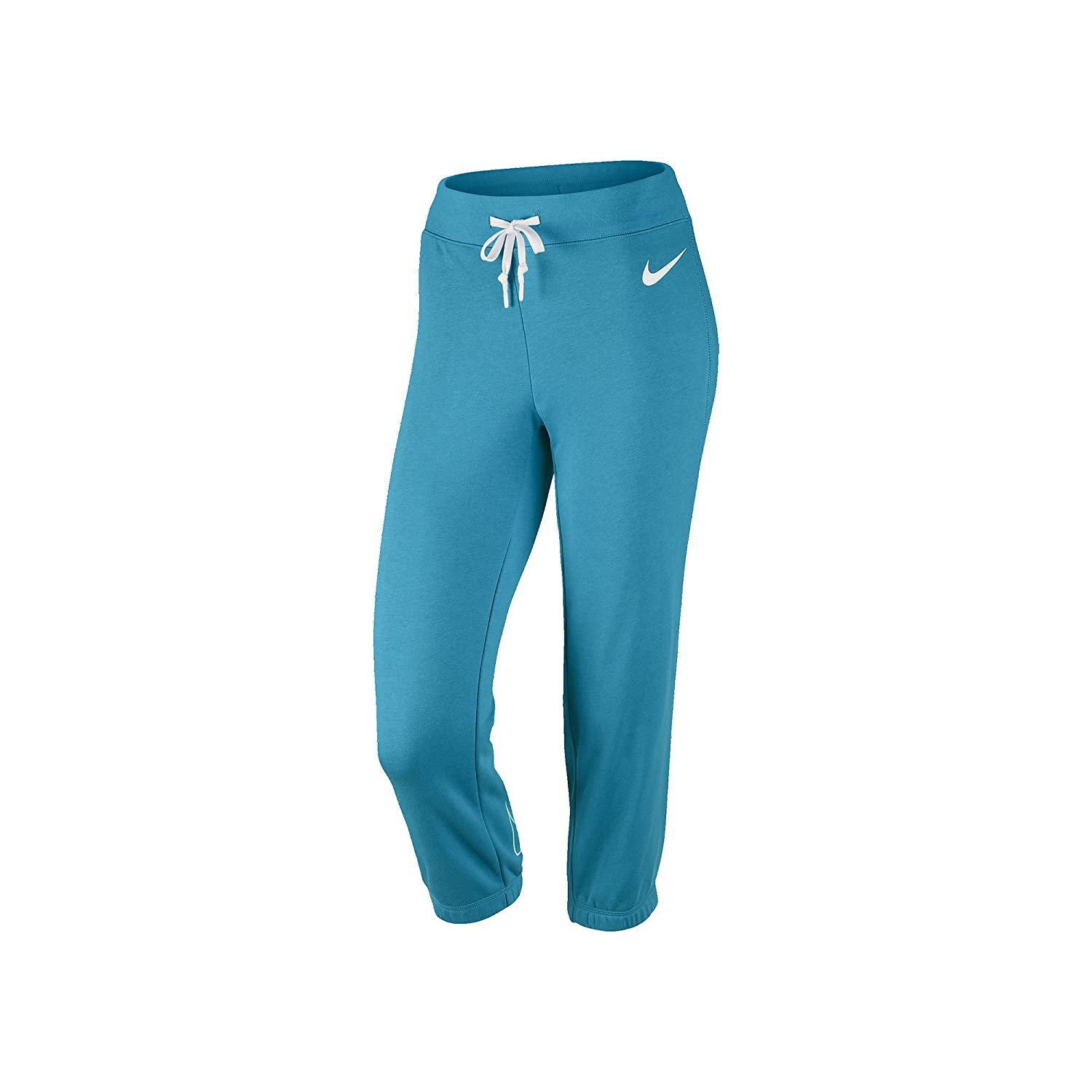 Nike Damen Club Swoosh French Terry Capris Blau