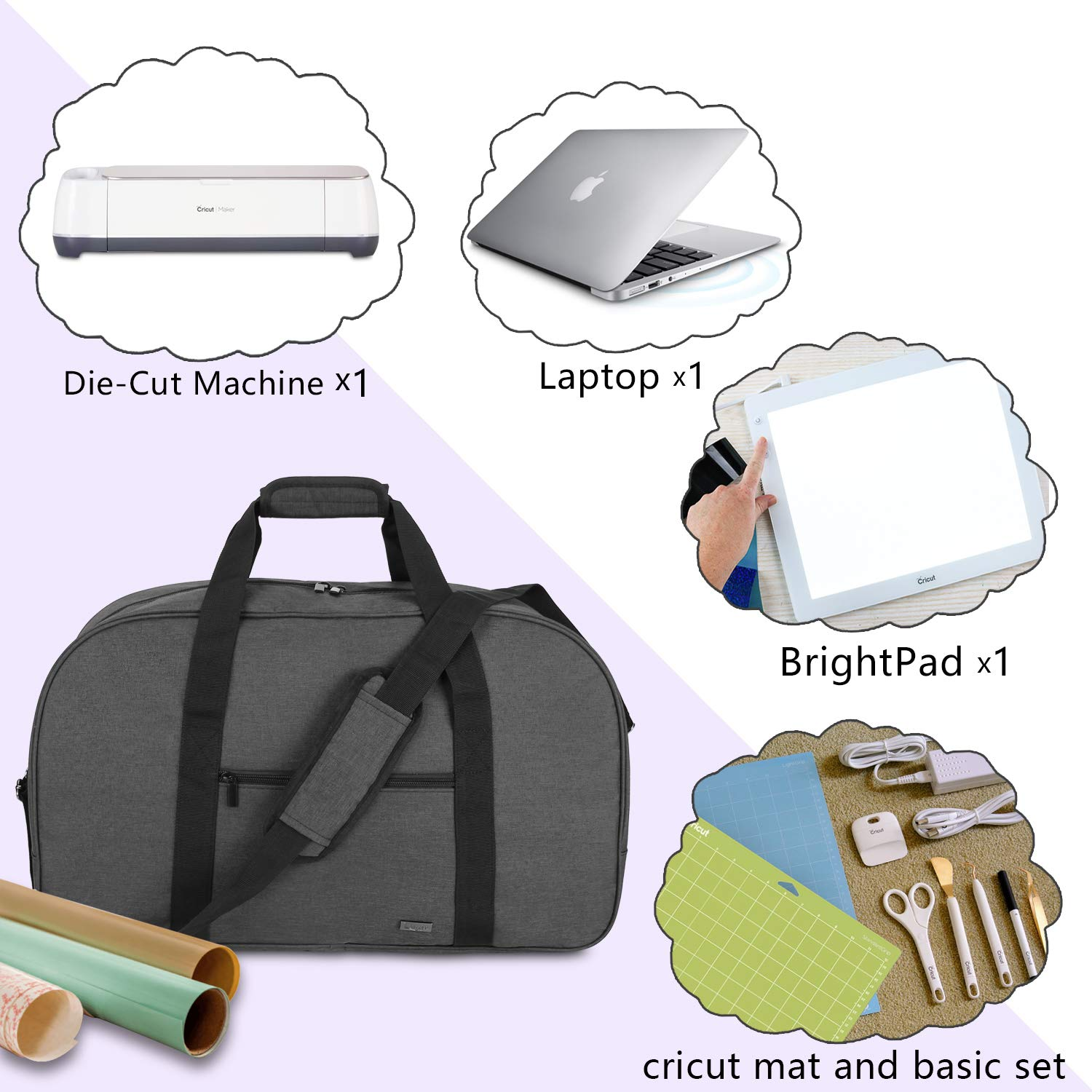 Black Bag Only Carrying Bag Compatible with Cricut Explore Air and Supplies Luxja Foldable Bag Compatible with Cricut Explore Air and Maker
