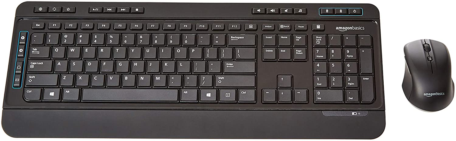 AmazonBasics Wireless Keyboard and Mouse Combo - Full Size - US Layout (QWERTY)