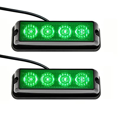 Strobelight Bar 4 LED with Super Bright Emergency Beacon Flash Caution Strobe Light Bar with 17 Different Flashing (2PCS) (Green)