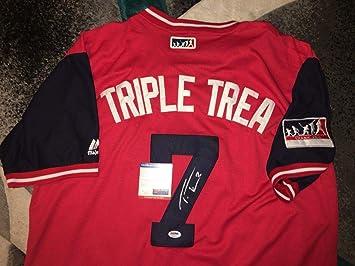 premium selection 6bb52 317c6 Trea Turner Autographed Jersey - Nickname Triple - PSA/DNA ...