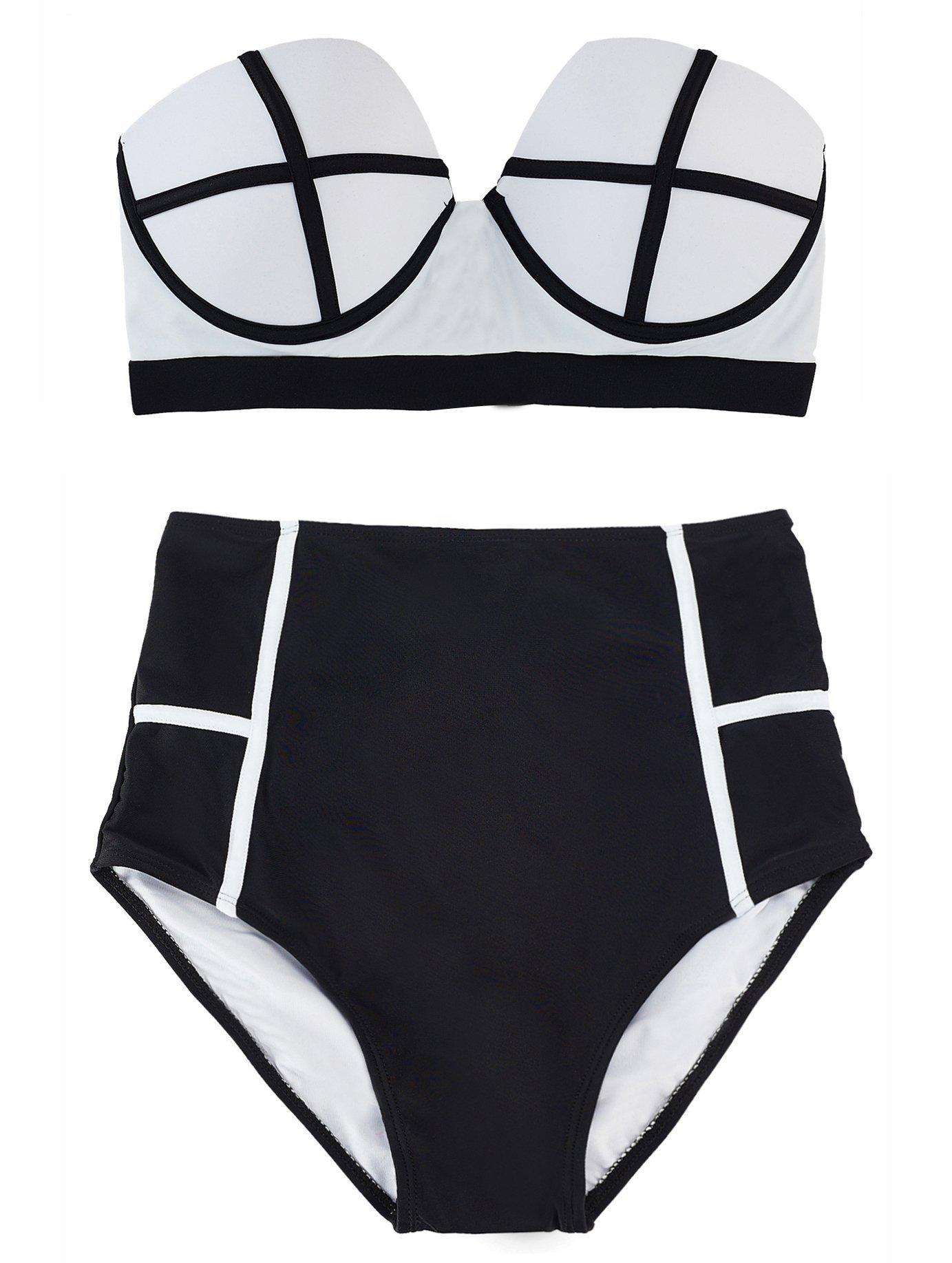 LA PLAGE Women's Colorful High Waist Padded Bathing Suit Size US XX-Large White by LA PLAGE (Image #4)