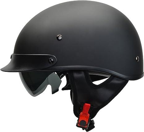Low Profile Motorcycle Flat or Gloss Black Novelty Rebel Skull Cap Helmet