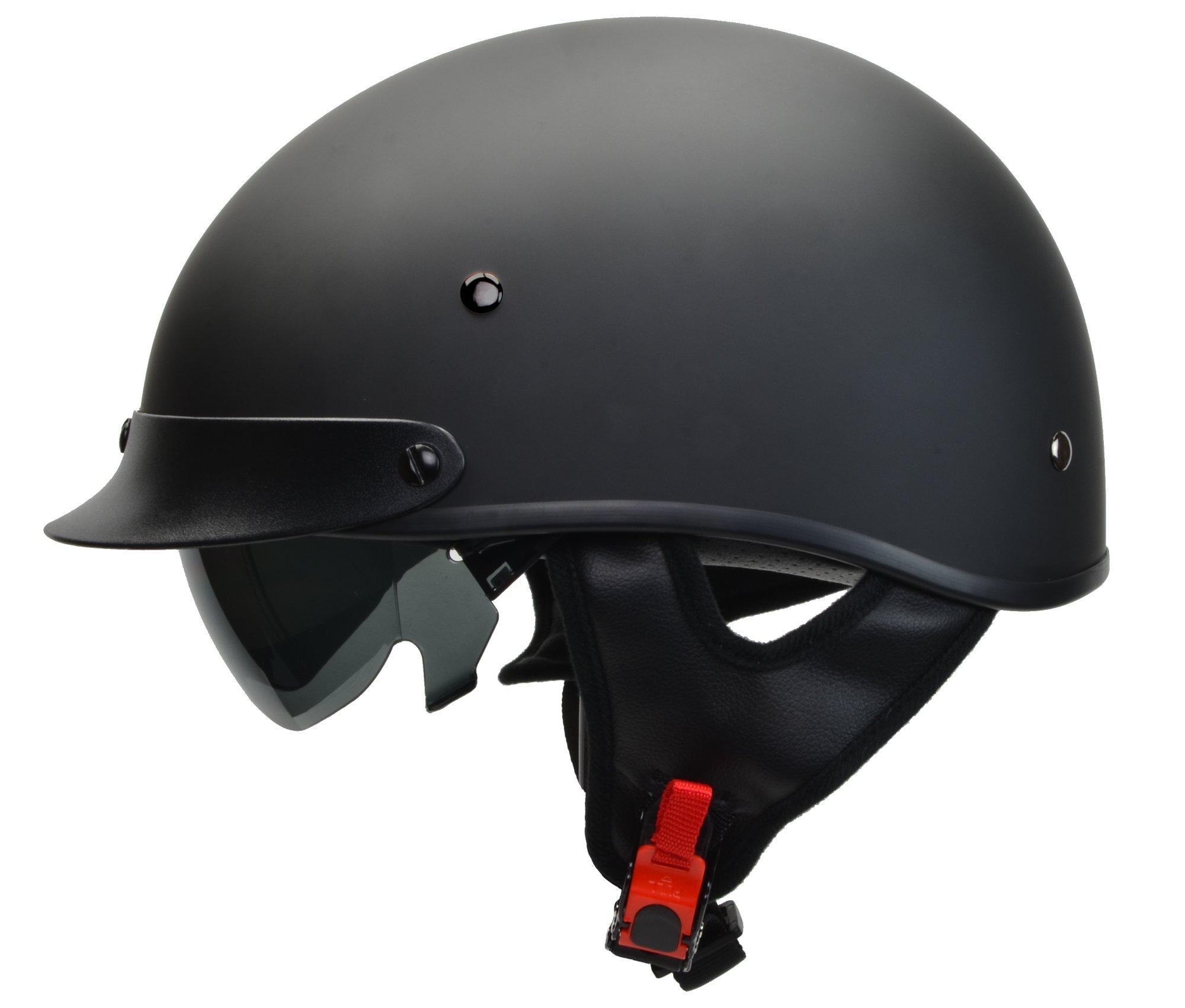 Vega Helmets Warrior Motorcycle Half Helmet with Sunshield for Men & Women, Adjustable Size Dial DOT Half Face Skull Cap for Bike Cruiser Chopper Moped Scooter ATV (Large, Matte Black) by Vega Helmets