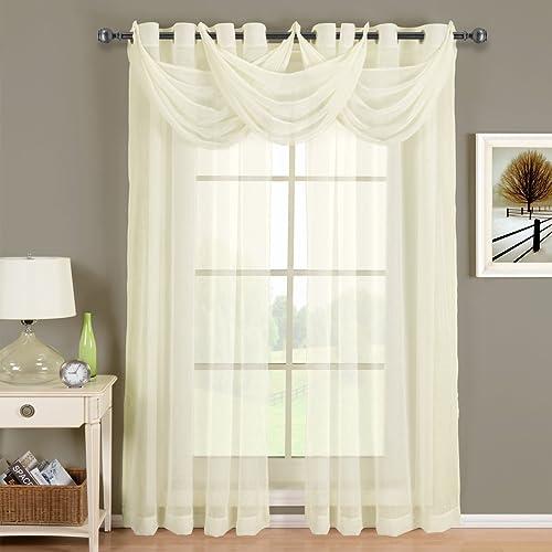 CRUSHED SHEER ABRI GROMMET Curtain Panels Window Treatment 50 X 84 Panel Ivory