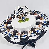Torta bomboniera portaconfetti Compleanno Nascita Comunione con Bambino Che Gioca a Calcio Pallone Juventus Coppa Squadra (Torta da 20 fette + Centrale)