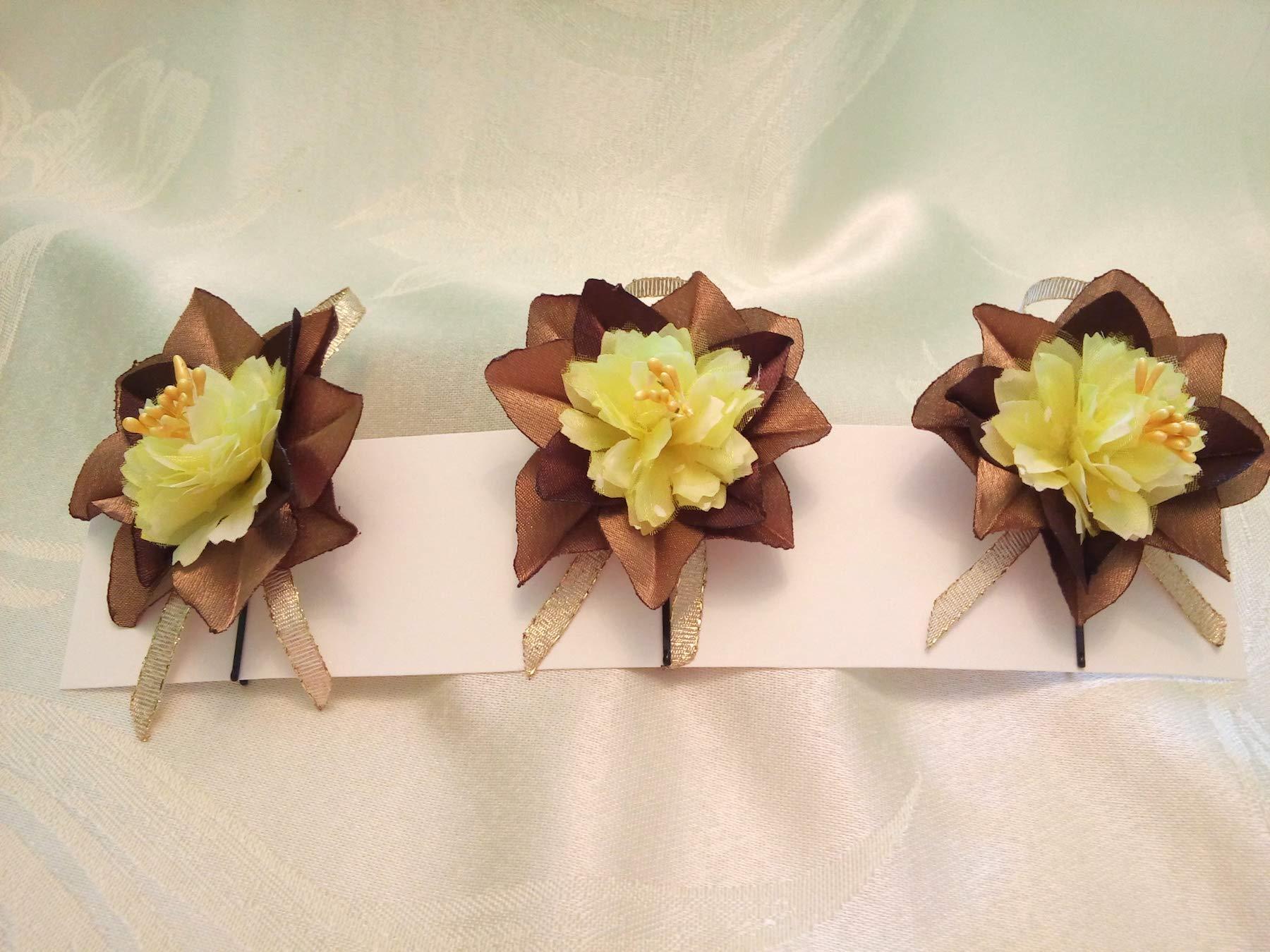 Bobby Pins Hair Brown Yellow Set of 3 flower Wedding hair flowers